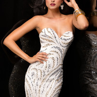 Scala 48357 - Ivory Strapless Sequin Short Homecoming Dresses Online