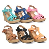 """Womens Shoes Platform Wedge 4"""" Heel Sandals Open Toe Ankle Strap Padded Sole"""