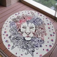 Rasta Jungle Lion Round Boho Wall Bed Tapestry