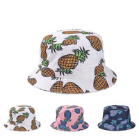 Hot! 2015 New Fashion Lovely Summer Casual Cotton Fishing Hats Pineapple Printed Bucket Hats For Women Girls Men = 1930471364