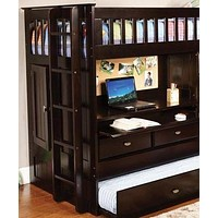 Kendall Cappuccino Loft Bed with Desk, Dresser, Trundle in One