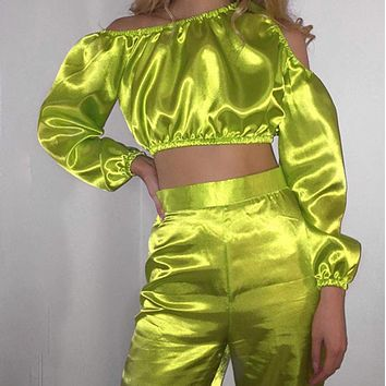 Women's new oblique collar strapless flared pants suit