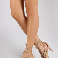 Qupid Caged Lace Up Open Toe Heel
