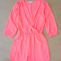 Coronado Romper in Hot Pink [6948] - $36.00 : Feminine, Bohemian, & Vintage Inspired Clothing at Affordable Prices, deloom