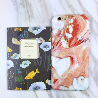 Unique Orange Marble Case Cover for iPhone 7 6 6s Plus +Gift Box 426