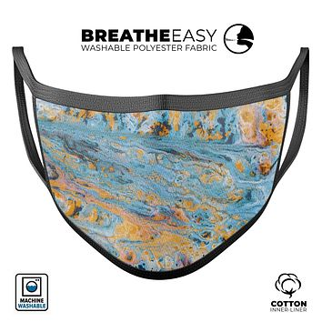 Abstract Wet Paint Teal and Gold - Made in USA Mouth Cover Unisex Anti-Dust Cotton Blend Reusable & Washable Face Mask with Adjustable Sizing for Adult or Child