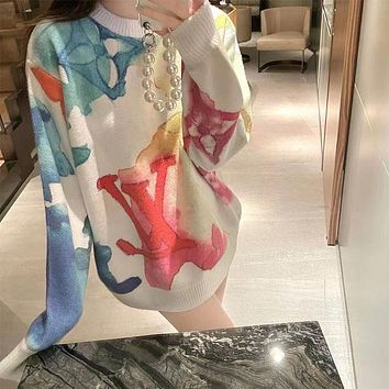 LV Color halo dyed Pullover knitted sweater for women