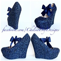 Navy Blue Wedge Glitter Pumps, Midnight Wedding High Heels