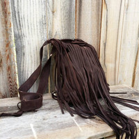 Large Fringed Dark Chocolate Suede Leather Tote