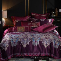 Red Jacquard Luxury royal Bedding sets 4/6/9 Pcs Queen/King size egyptian cotton Bed set Bed linen Duvet cover pillow