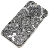 Black Paisley Damask Floral Mandala Henna Phone Case iPhone 6, 6 Plus, 6S, 5, 5C, 5S, Galaxy S5, S6, Note 4