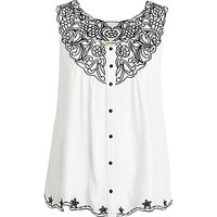 River Island Womens Cream embroidered button down swing top