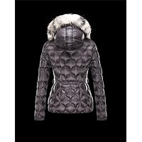 Moncler GRESFUR Ultralight Turtleneck Fur Collar Steel grey Jackets Nylon/Racoon Women