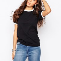 Rokoko Fitted Ringer T-Shirt With Contrast Piping Detail