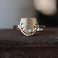 14k Yellow Gold Crest Diamond Signet Ring Personalized Initial - Acorn Crest