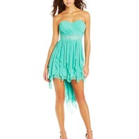My Michelle Juniors Strapless High-Low Dress with Detailed Waist Band, Mint, 13