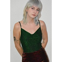 Dark Net Shimmer Bodysuit - Hunter Green