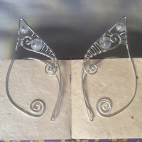 Silver Plated Handmade Wire Wrapped Clear Crackle Quartz Elf Ear Cuffs, Wire Weave, Spiral, Elven Ears, LARP