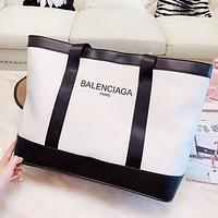Balenciaga Fashion New Letter Print Contrast Color Shopping Leisure Shoulder Bag Women Handbag