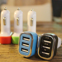 3 in 1 Car Fast USB Charger for iPhone Android + Gift Box 10