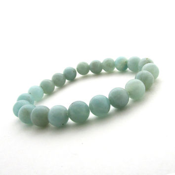 Amazonite bracelet, stretch bracelet, gemstone beaded bracelet, aqua blue beaded bracelet