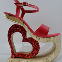"USA Crafted Genuine Leather Carved Wooden Red Glitter Heart 4 or 7.5"" Heel Lift"