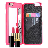 Fashion Lady 3D Water Flip PU Leather Case For iPhone 7 6S For iPhone 6 6S 7 Plus Wallet Mirror Case Dual Layer Card Slot Cover