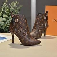 2020 Office New【Louis Vuitton】LV One Word With Flat Bottom High Boots DISCOUNT best quality