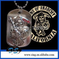 Sons of Anarchy Dog Tag Samcro Skull Design Chain Necklace and Pendant