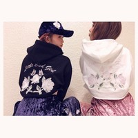 Cool Japanese Style Rose Flower Embroidery Hooded Short Sweatshirt Long Sleeve Hoodies Tops Winter Color Black & White