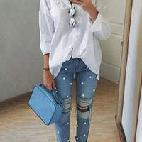 Faux Pearl Distressed Straight-Leg Jeans