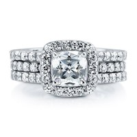 BERRICLE Sterling Silver 2.12 ct.tw Cushion Cubic Zirconia CZ Halo Engagement Wedding Ring Set