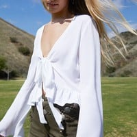 LA Hearts Long Sleeve Tie Front Top at PacSun.com
