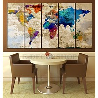Retro WORLD MAP Canvas Print Art Drawing on Old Wall Watercolor World Map 5 Piece Canvas Art