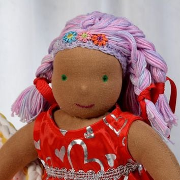 Sweet dark skinned Waldorf doll. Made with natural fiber, 100% cotton and pure marino wool