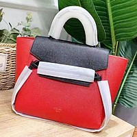 CELINE Fashion New Solid Color Leather Shopping Leisure Shoulder Bag Women Handbag Red