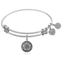 Expandable White Tone Brass Bangle with  Supernatural Anti-Possession Symbol