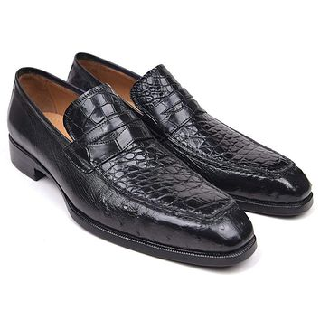 Paul Parkman (FREE Shipping) Genuine Crocodile & Ostrich Penny Loafers Black (ID#10CR87-BLK)