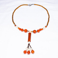 Dazzling Orange-Brown Carnelian with Mother of Pearl and Silver Plated Beads