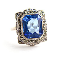 Vintage Genuine Art Deco Sterling Silver Ring -  Size 7 1/2 Blue Glass Stone & Marcasite Costume Jewelry / Rectangular Square Cut