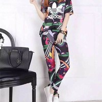 """Adidas"" Fashion Casual Multicolor Stripe Letter Print Short Sleeve Sweater Set Two-Piece Sportswear"