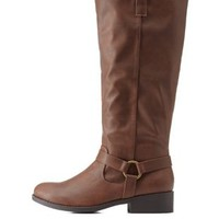 Brown Harnessed Knee-High Riding Boots by Charlotte Russe
