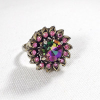 Purple and pink rhinestone ring, gold vintage ring, AB aurora borealis amethyst rhinestone adjustable ring, 1960s vintage statement ring