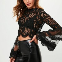 Missguided - Black Lace Crochet Flared Sleeve Blouse