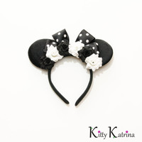 Black and White Minnie Mouse Ears Headband, Classic Minnie Ears, Classic Mickey Mouse, Mouse Ears Headband, Minnie Ears, Disney Bound