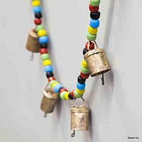 "Chime of Ten Tin Bells with Metal Striker on 38"" Long Cord with Colorful Beads"