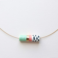 Tube Necklace with Gold in Mint and Peach by Jode Pankhurst