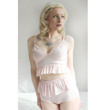 Ruffle Ballet Pink Bra and High Waisted Panty Set