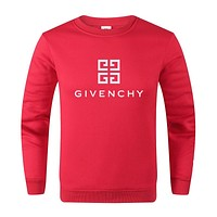 GIVENCHY Trending Women Men Print Round Collar Sweater Sweatshirt Red