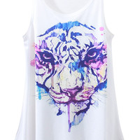 White Tiger Print Sleeveless Tank